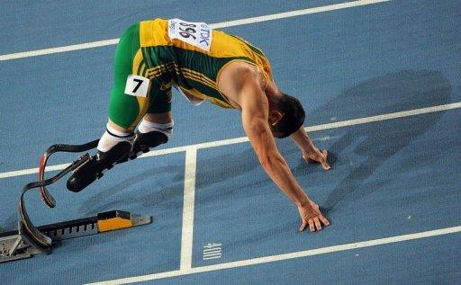 Double amputee Oscar Pistorius clocked 48.24 seconds when finishing second in a heat