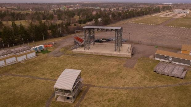 This drone shot from April 14 shows the grounds of the Cavendish Beach Music Festival, due to be held July 9-11 but now cancelled because of the continuing fallout of the COVID-19 pandemic. (Shane Hennessey/CBC - image credit)