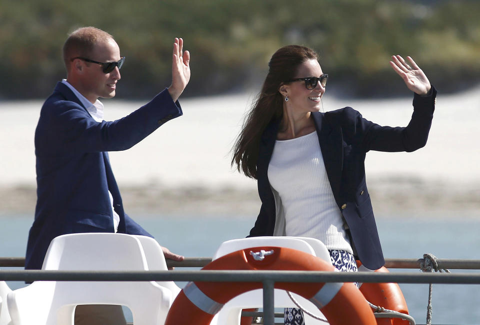 ISLES OF SCILLY - SEPTEMBER 02:  Prince William, Duke of Cambridge and Catherine, Duchess of Cambridge travel by boat to St Martins, after visiting Tresco Abbey Garden on September 2, 2016 in Isles Of Scilly, England.  (Photo by Peter Nicholls - WPA Pool /Getty Images)