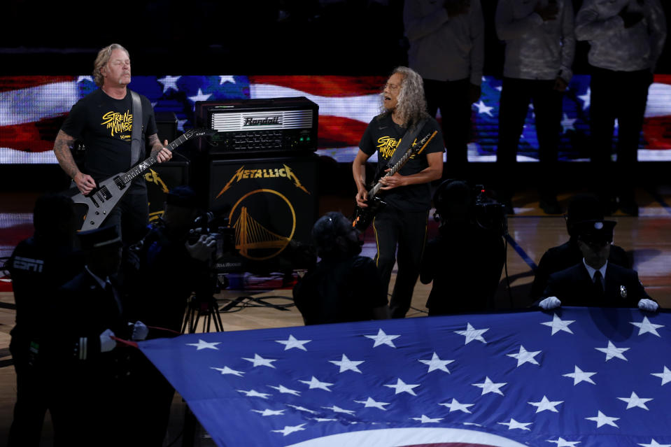 The American national anthem is performed by Metallica prior to game Three of the 2019 NBA Finals between the Golden State Warriors and the Toronto Raptors at ORACLE Arena on June 05, 2019 in Oakland, California. (Photo by Lachlan Cunningham/Getty Images)