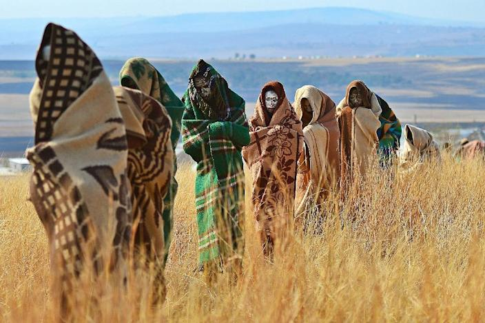 Boys from the Xhosa tribe who have undergone a circumcision ceremony are pictured near the village of Qunu in June 2013 (AFP Photo/Carl de Souza)