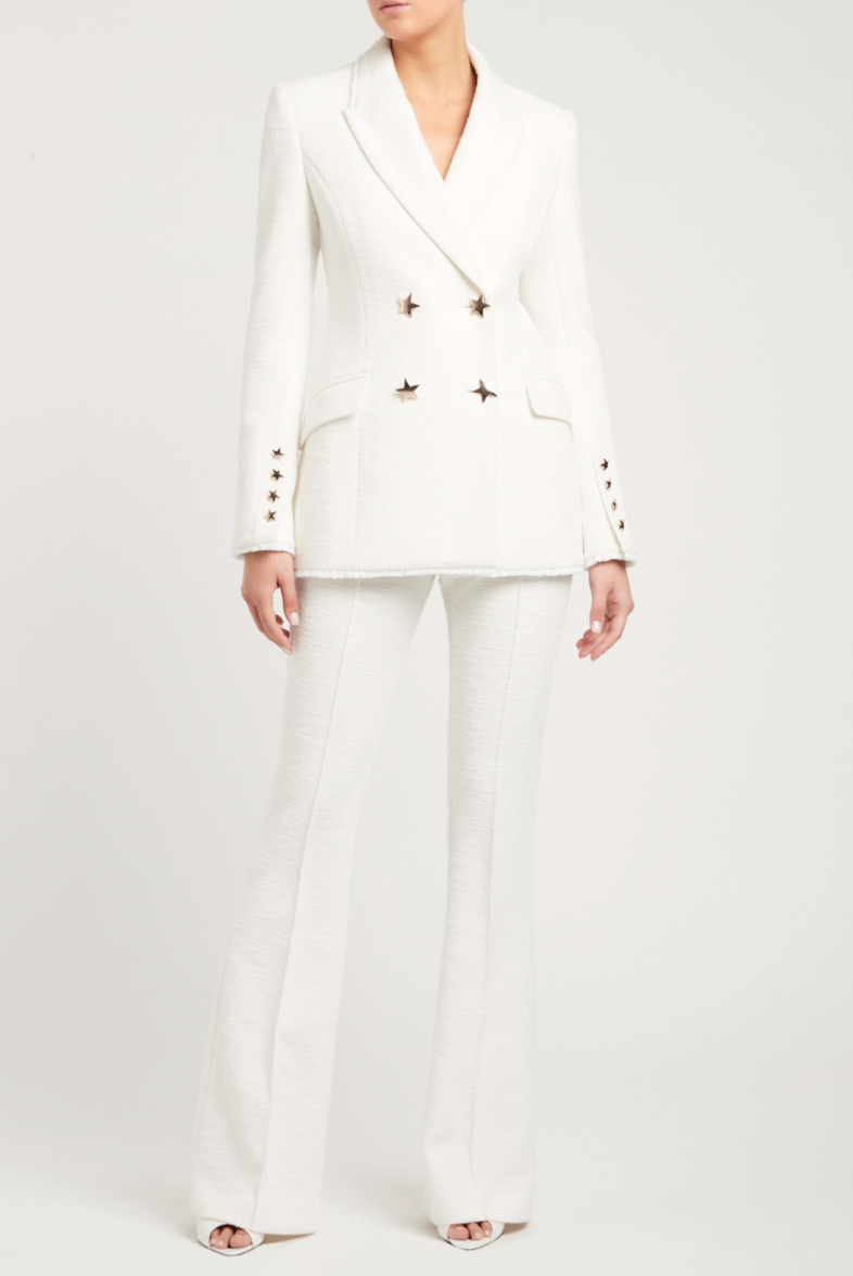 white rebecca vallance jacket and matching trousers