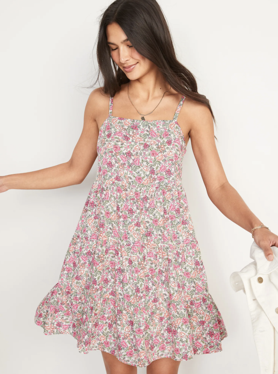 Sleeveless Tiered Floral-Print Swing Dress for Women - Old Navy