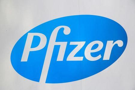 The Pfizer logo is seen at their world headquarters in Manhattan, New York, U.S., August 1, 2016. REUTERS/Andrew Kelly/Files