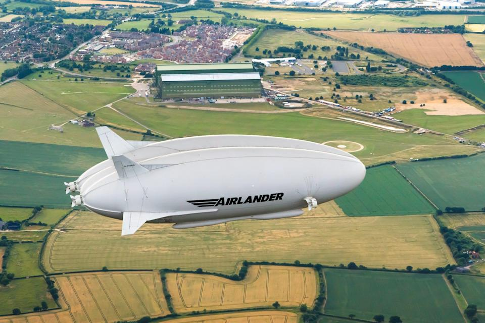 The Airlander 10 flying over fields