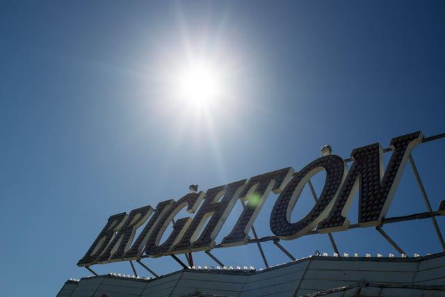 A Brighton sign on the pier (Steve Parsons/PA)