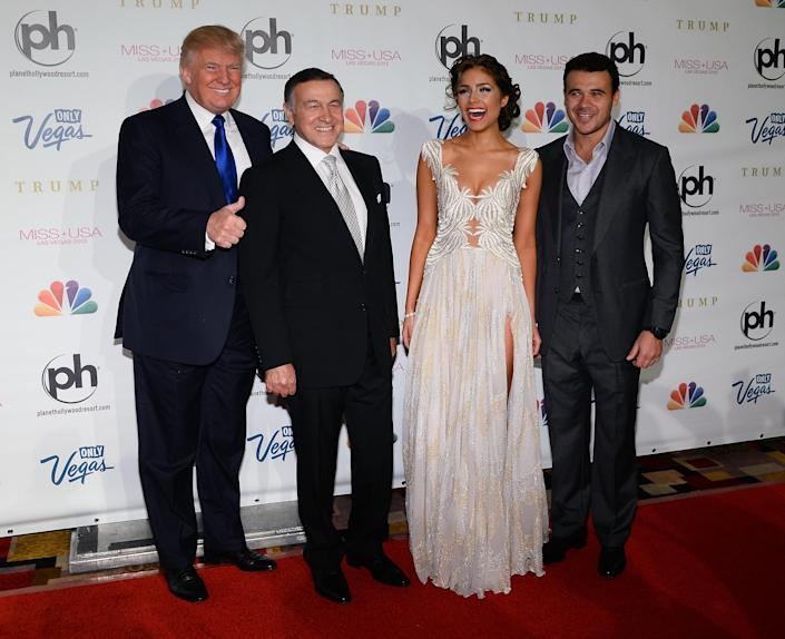 From left: Donald Trump, Aras Agalarov, Miss Universe 2012 Olivia Culpo and Russian singer Emin Agalarov arrive at the 2013 Miss USA pageant at Planet Hollywood Resort & Casino in Las Vegas on June 16, 2013. (Photo: Ethan Miller/Getty Images)