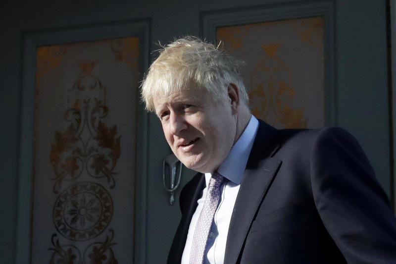 British Conservative party leadership and prime minister contender Boris Johnson leaves home in South London in London, Thursday, June 20, 2019. The race to become Britain's next prime minister is down to the final four on Wednesday, as Johnson stretched his lead among Conservative lawmakers and upstart Rory Stewart was eliminated from the contest. (AP Photo/Matt Dunham)