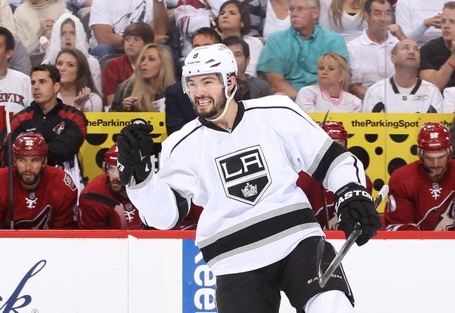 GLENDALE, AZ - MAY 15:  Drew Doughty #8 of the Los Angeles Kings reacts after his shot was deflected in for a goal by teammate Dwight King #74 (not in photo) against the Phoenix Coyotes in the first period of Game Two of the Western Conference Final during the 2012 NHL Stanley Cup Playoffs at Jobing.com Arena on May 15, 2012 in Phoenix, Arizona.  (Photo by Christian Petersen/Getty Images)