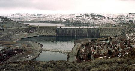 File photo of  Grand Coulee Dam, one of the world's largest hydroelectric dams spans the Col..