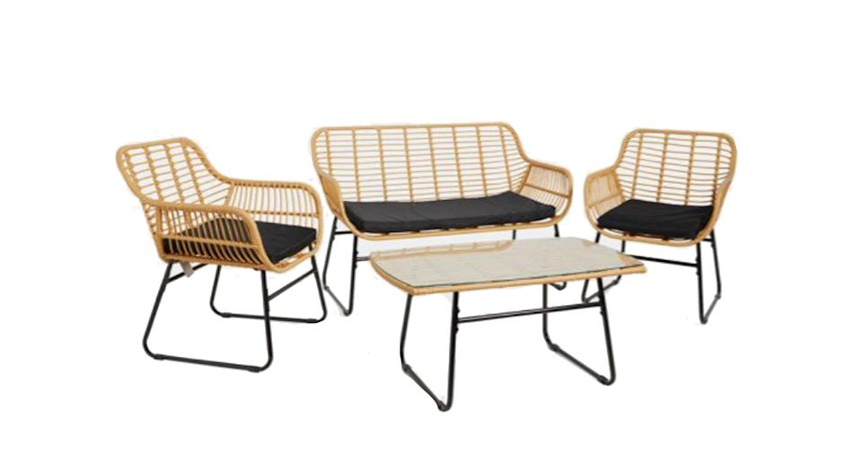 Natural Rattan Table and Sofa Set