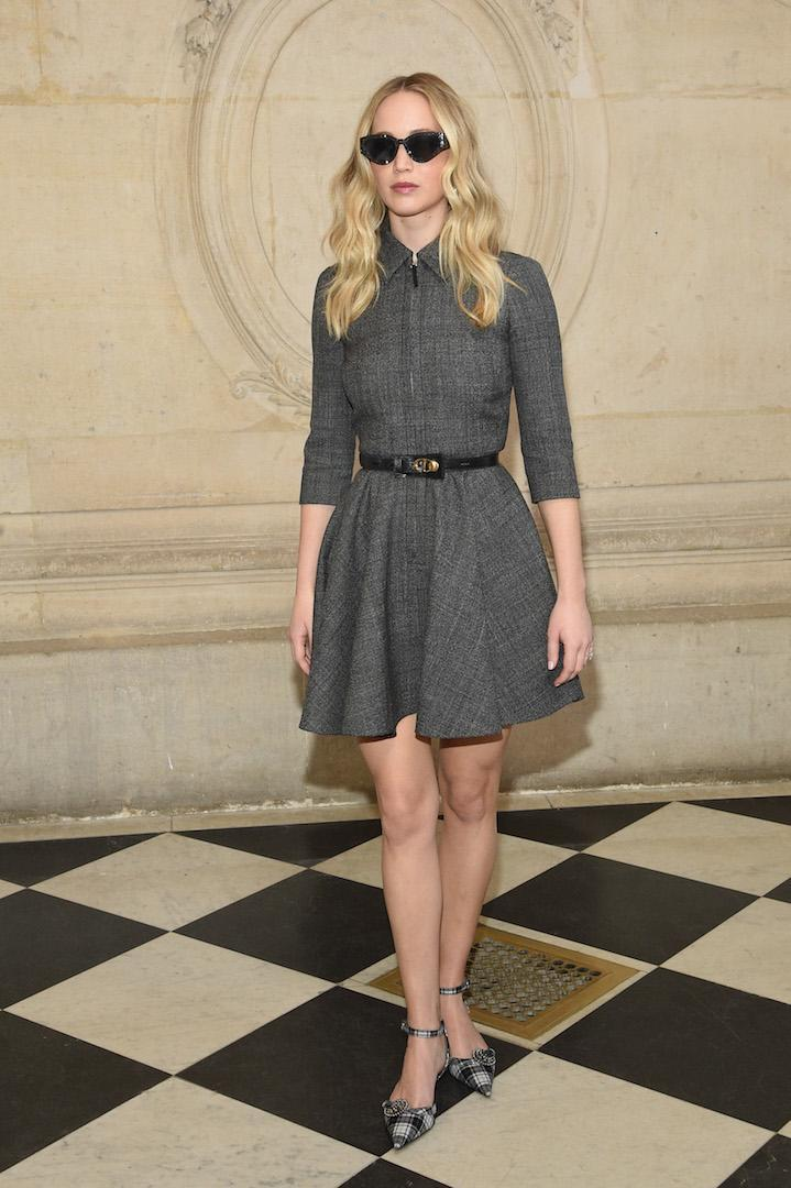 Jennifer Lawrence at the Christian Dior show during Paris Fashion Week [Photo: Getty]