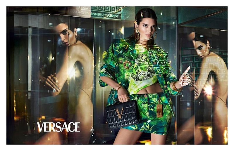 Kendall Jenner poses clothed and nude for Versace