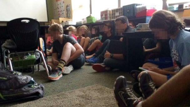PHOTO: Students wait on lockdown inside Freeman Elementary School in Washington State?s Spokane County after a shooting at the nearby Freeman High School. (Courtesy Christina Morrison)