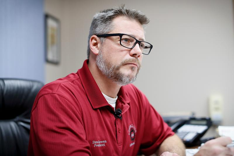 David Green, president of Local UAW 1112, speaks in his office nearby the General Motors' Lordstown plant, Tuesday, Nov. 27, 2018, in Warren, Ohio.