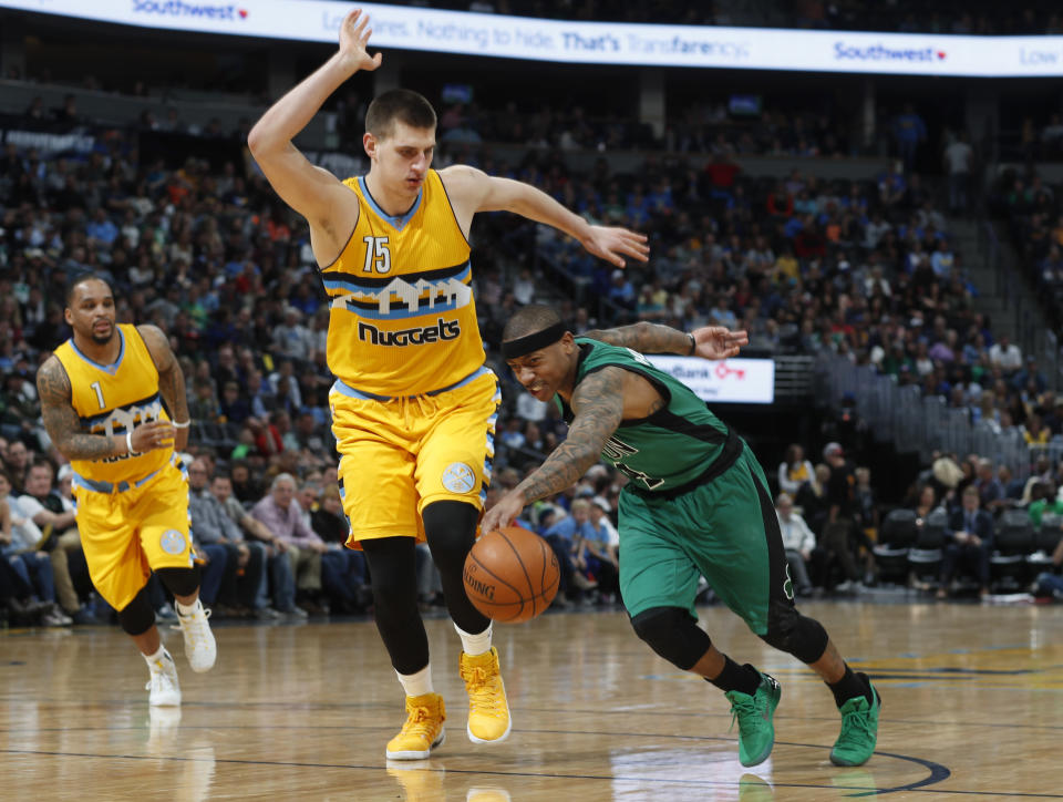 Can playing alongside Nikola Jokic help Isaiah Thomas rediscover the All-Star form he lost last year, and help push the Nuggets into the playoffs? (AP)