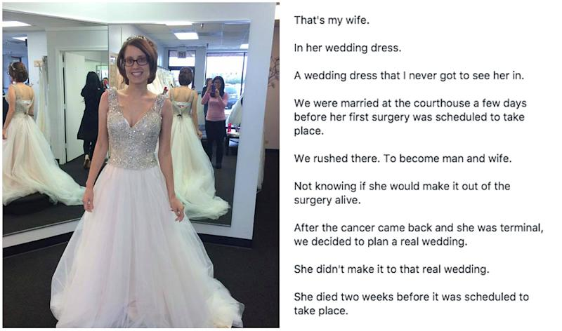 Man finds photo of late wife in her dream wedding dress