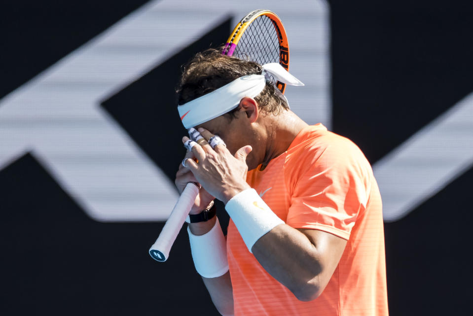 MELBOURNE, VIC - FEBRUARY 15: Rafael Nadal of Spain shows his frustration after losing a game during round 4 of the 2021 Australian Open on February 15 2021, at Melbourne Park in Melbourne, Australia. (Photo by Jason Heidrich/Icon Sportswire via Getty Images)