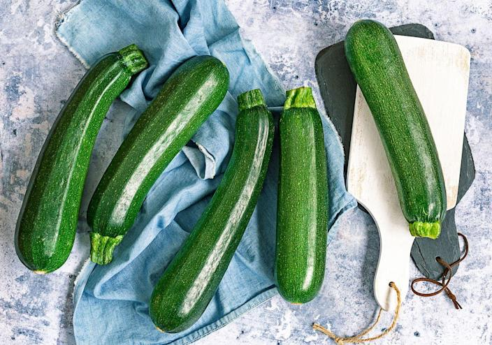 """<p>""""Courgettes (zucchini) are a versatile vegetable and can be used in many ways,"""" says Matthews. """"They contain few calories (17 calories per 100 grams) and also important nutrients including potassium, vitamin C, and fiber. Try spiralizing it for a tasty alternative to spaghetti pasta."""" We made things a little bit easier for you by gathering up 25 awesome <a href=""""https://www.prevention.com/food-nutrition/g20476458/healthy-zucchini-recipes/"""" rel=""""nofollow noopener"""" target=""""_blank"""" data-ylk=""""slk:zucchini recipes"""" class=""""link rapid-noclick-resp"""">zucchini recipes</a>.</p>"""