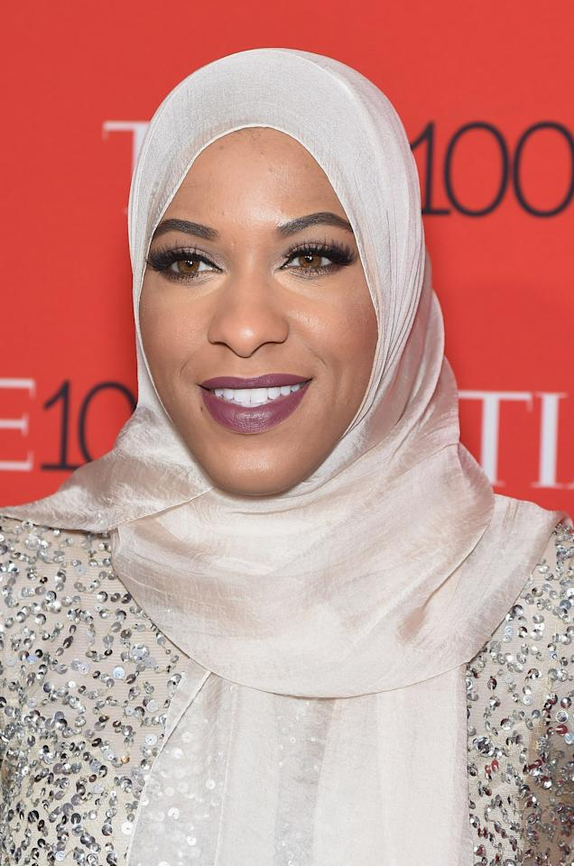<p>The Olympic fencer's makeup at the <em>Time</em> 100 Gala was on point! We love her bold brows, smoky eyes, and creamy mauve lipstick. (Photo: Gary Gershoff/WireImage) </p>