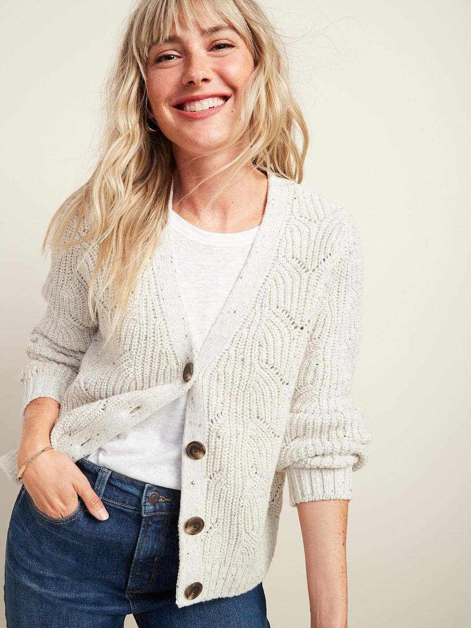 <p>We'll wear this <span>Pointelle-Knit Button-Front Cardigan Sweater </span> ($42, originally $45) unbuttoned over a fitted white shirt.</p>