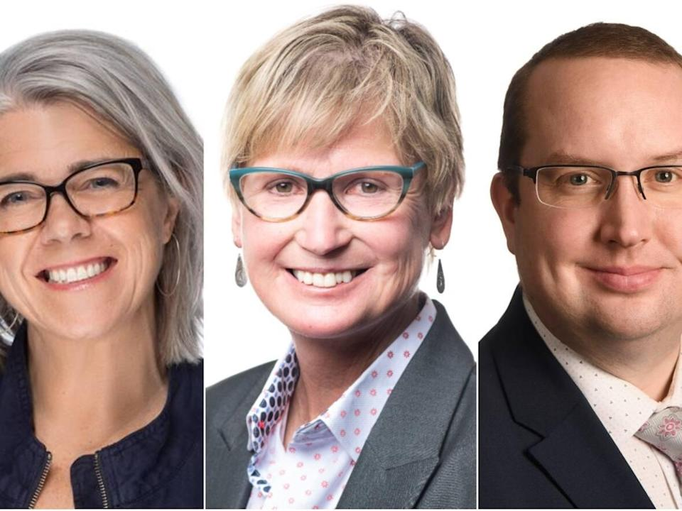 Patti Balsillie, Laura Cabott and Samson Hartland are all running to be mayor of Whitehorse. (Submitted/Alistair Maitland/CBC - image credit)