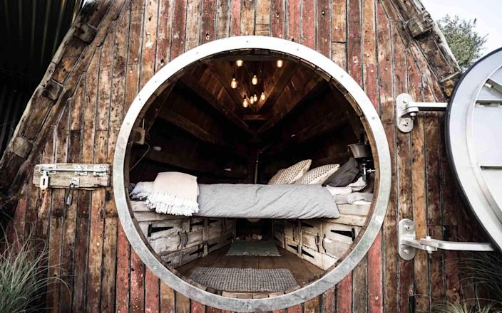 A unique glamping hut that began life as a boat in Penzance. See number 7 for more details.