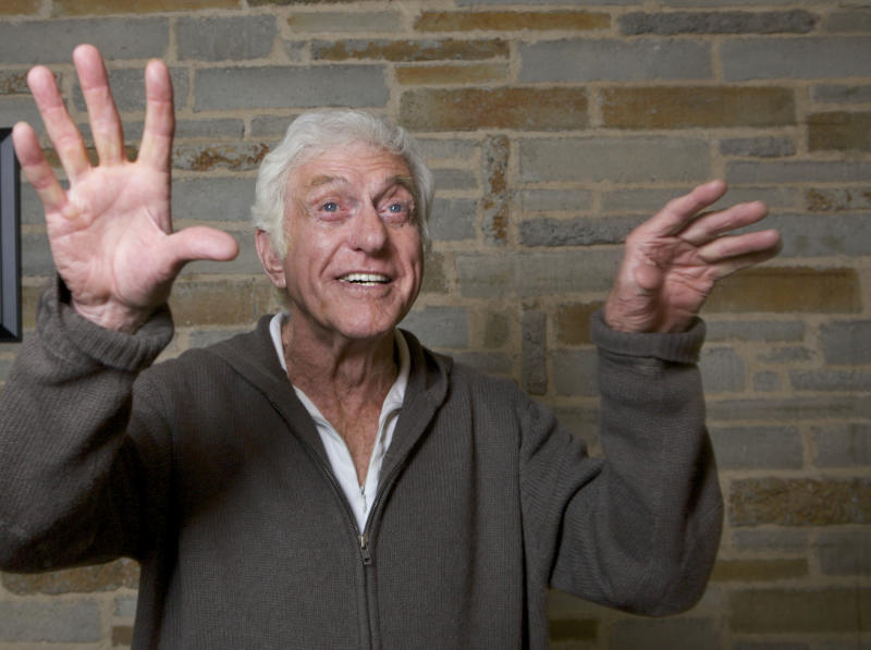In this photo taken on Tuesday, Nov. 30, 2010, actor Dick Van Dyke is shown during a rehearsal for his upcoming one-man show at the Gefen Playhouse in Los Angeles. (AP Photo/Damian Dovarganes)
