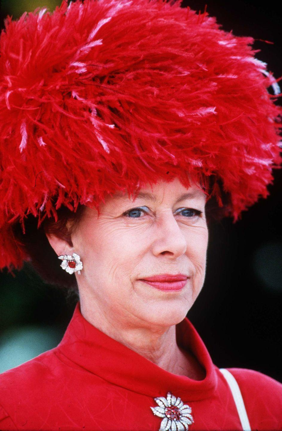 <p>While attending the Royal Ascot, Princess Margaret looked fabulous in head-to-toe red. </p>