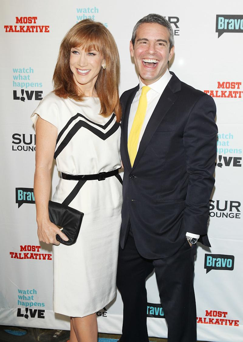 Kathy Griffin and Andy Cohen at his book release party in 2012.