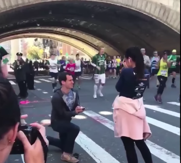 NYC Marathon runner gets engaged midrace when her boyfriend abruptly pops the question. (Photo: Facebook)