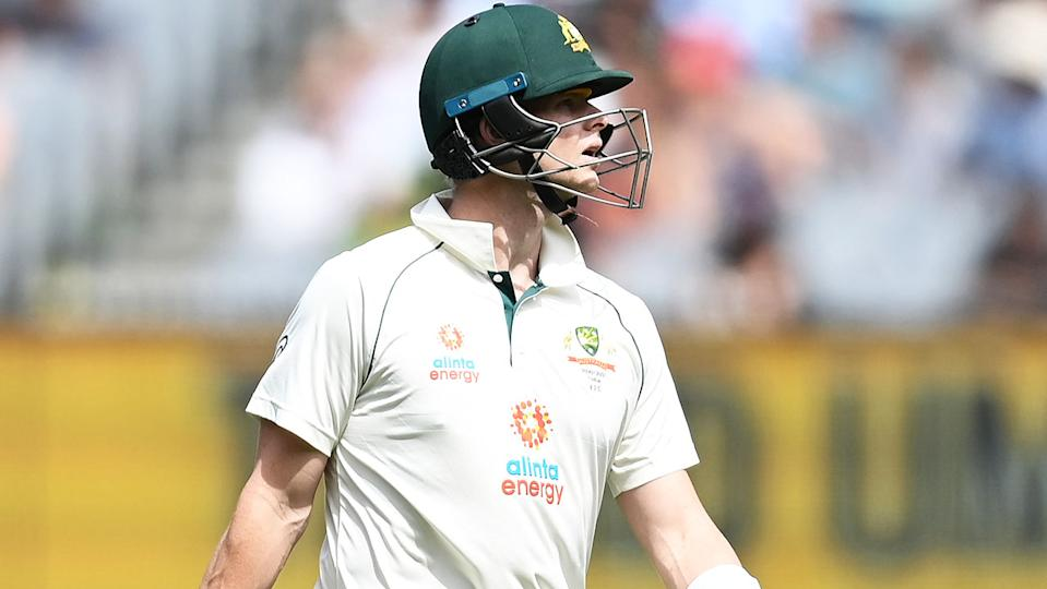 Steve Smith (pictured) looking disappointed after getting out to India.
