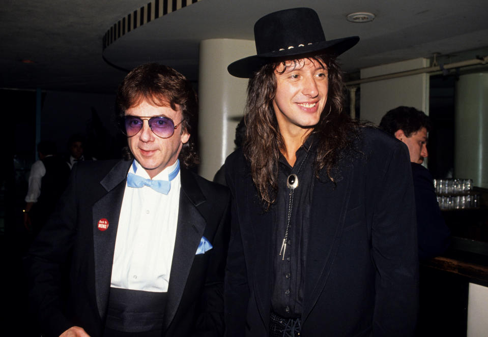 Phil Spector and Richie Sambora of Bon Jovi during 3rd Annual Silver Clef Award Honors Bon Jovi at Roseland in New York City, New York, United States. (Photo by Ke.Mazur/WireImage)