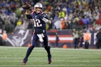 New England Patriots quarterback Tom Brady rolls out to pass for a touchdown to Julian Edelman in the second half of an NFL football game against the Cleveland Browns, Sunday, Oct. 27, 2019, in Foxborough, Mass. (AP Photo/Steven Senne)