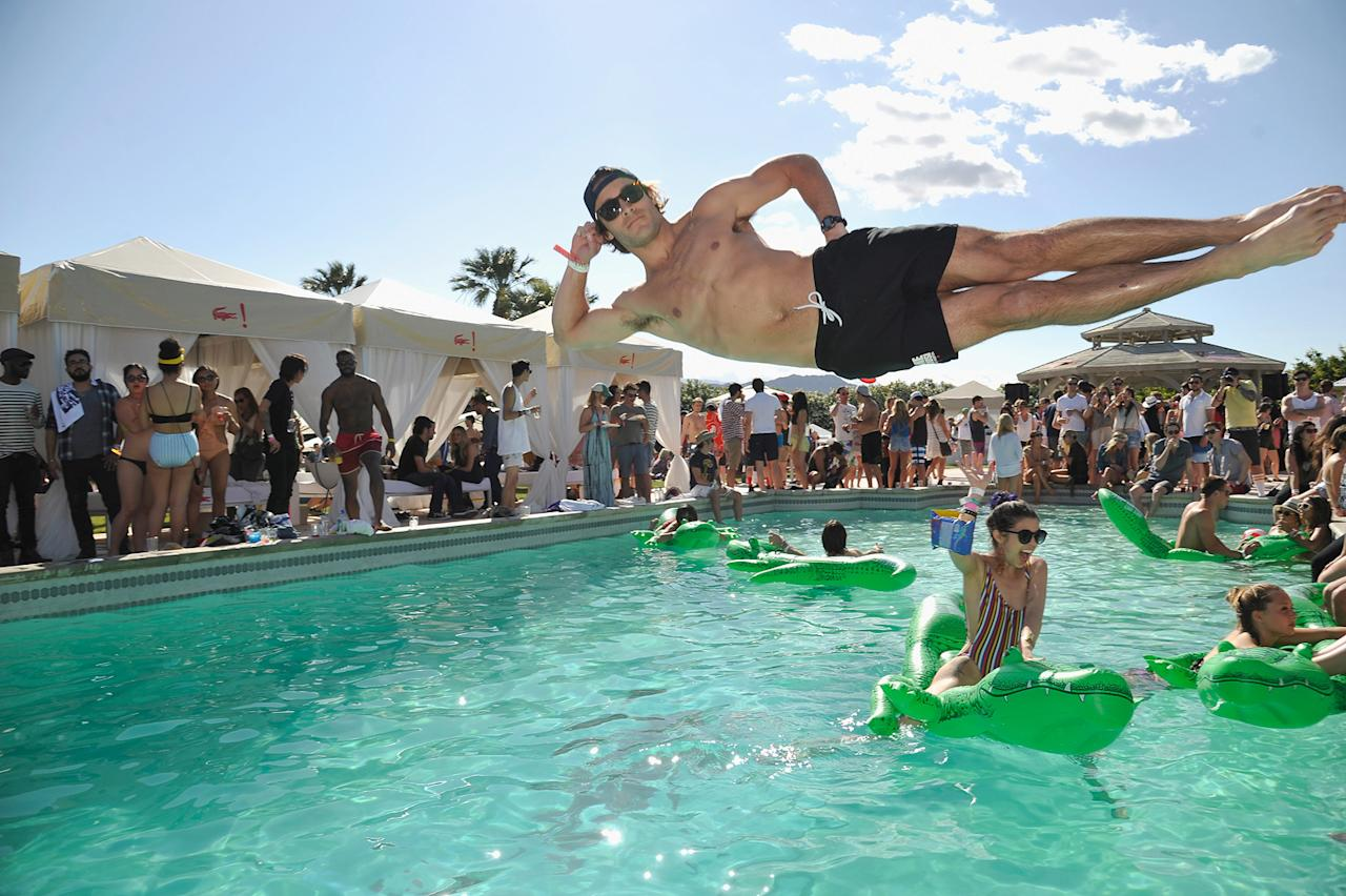 The Lacoste pool party during the Coachella Music Festival in Thermal, California.