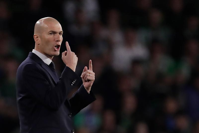 SEVILLA, SPAIN - MARCH 8: Coach Zinedine Zidane of Real Madrid during the La Liga Santander match between Real Betis Sevilla v Real Madrid at the Estadio Benito Villamarin on March 8, 2020 in Sevilla Spain (Photo by Eric Verhoeven/Soccrates/Getty Images)