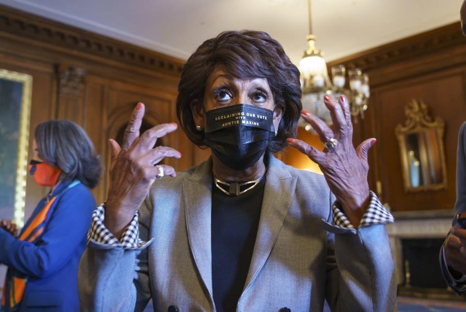 Rep. Maxine Waters, D-Calif., joins members of the Congressional Black Caucus to await the verdict in the murder trial of former Minneapolis police Officer Derek Chauvin in the death of George Floyd, on Capitol Hill in Washington, Tuesday, April 20, 2021. (AP Photo/J. Scott Applewhite)