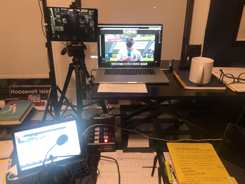 Jon Sciambi's at-home setup for a KBO broadcast has quite a few screens he needs to pay attention to. (Photo courtesy Jon Sciambi)