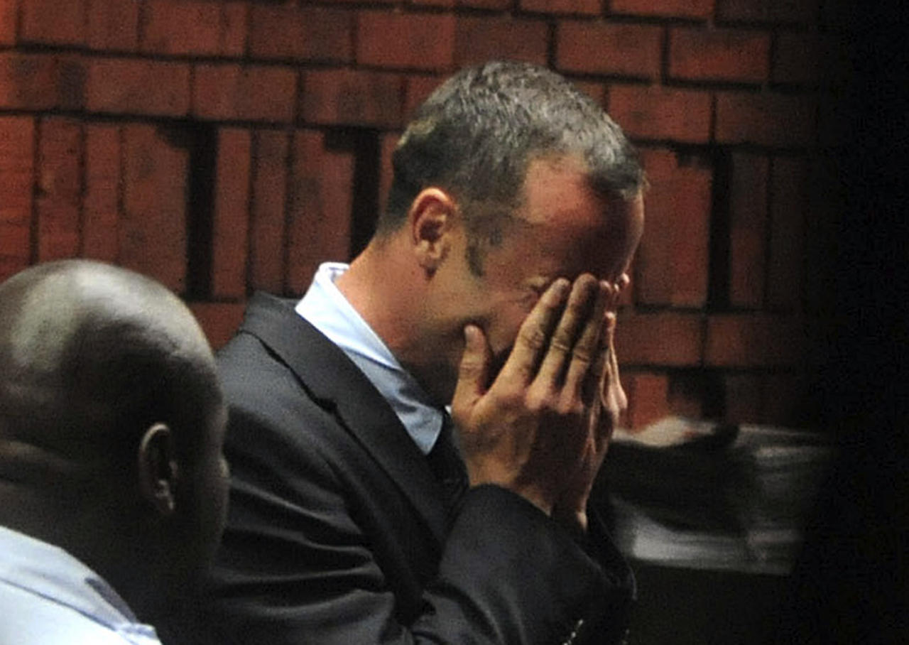 <p>Paralympian star Oscar Pistorius was charged with murder after he allegedly shot and killed his girlfriend Reeva Steenkamp four times in his home in Pretoria, South Africa. The 'Blade Runner' broke down in tears as the charges was read out to him in court. He denies the allegations (Reuters)<br /><br /></p>