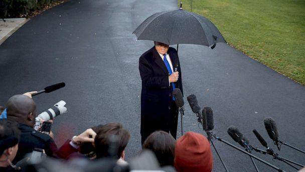 PHOTO: President Donald Trump speaks to members of the media before boarding Marine One on the south Lawn of the White House, Dec. 2, 2019. (Andrew Harnik/AP)