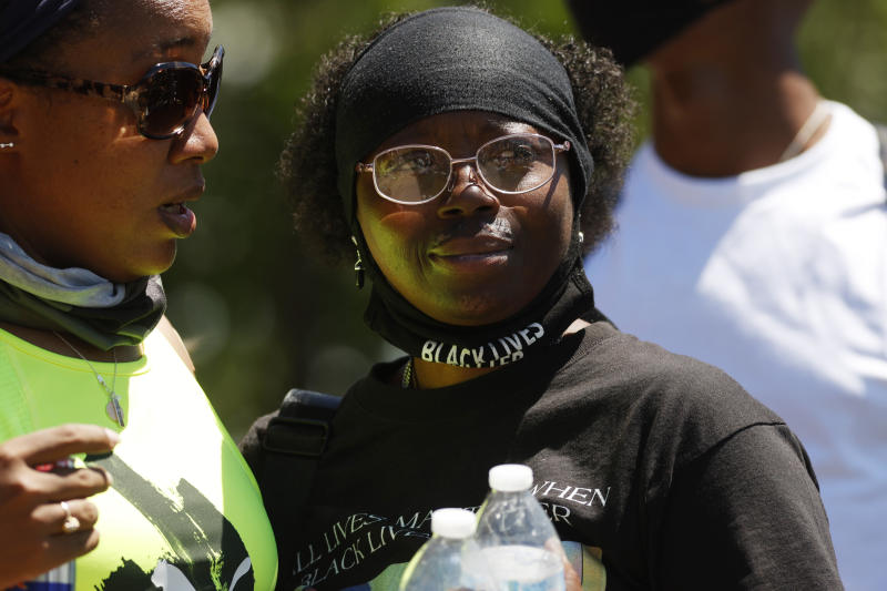 Sheneen McClain during a rally and march over the death of her son, 23-year-old Elijah McClain