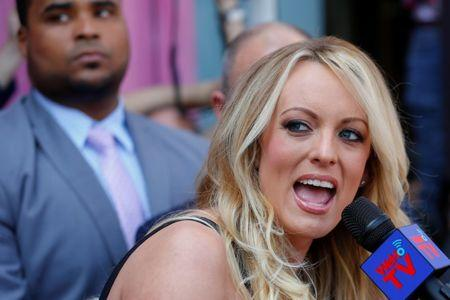 Stormy Daniels speaks during a ceremony in her honor in West Hollywood California
