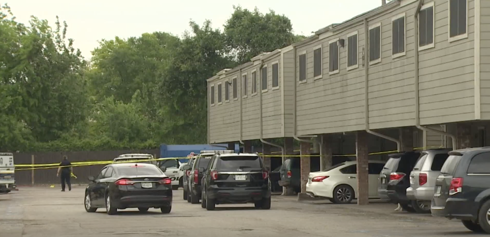 A crime scene at a Houston apartment complex.