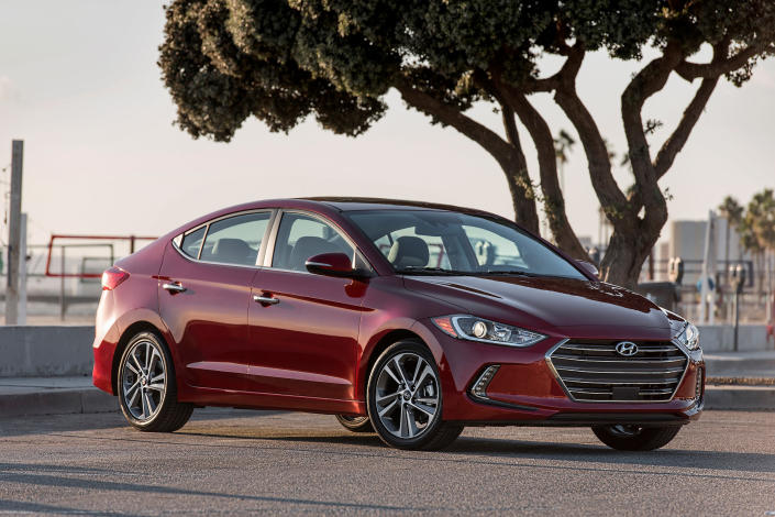 This undated photo provided by Hyundai shows the 2017 Hyundai Elantra. Buyers looking to save some money can buy a used Elantra with the standard fuel-efficient four-cylinder engine. (Hyundai Motor America via AP)