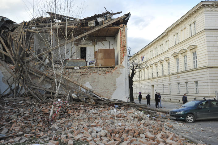 A view of buildings damaged in an earthquake, in Petrinja, Croatia, Tuesday, Dec. 29, 2020. A strong earthquake has hit central Croatia and caused major damage and at least one death in a town southeast of the capital. (AP Photo)