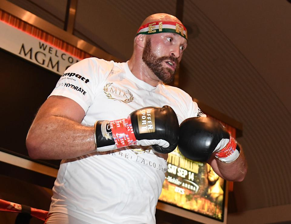 LAS VEGAS, NEVADA - SEPTEMBER 10:  Boxer Tyson Fury works out at MGM Grand Hotel & Casino on September 10, 2019 in Las Vegas, Nevada. Fury will face Otto Wallin in a heavyweight bout on September 14 at T-Mobile Arena in Las Vegas.  (Photo by Ethan Miller/Getty Images)