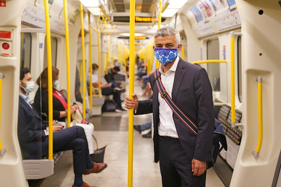 Mayor of London Sadiq Khan wears a mask on the Underground (Kirsty O'Connor/PA Images) (PA Wire)