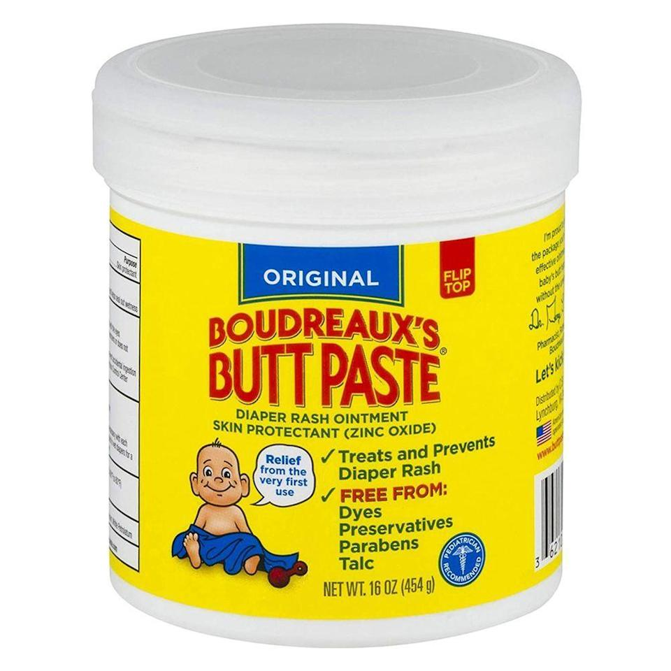 """<p><strong>Boudreaux's Butt Paste</strong></p><p>amazon.com</p><p><strong>$15.27</strong></p><p><a href=""""https://www.amazon.com/dp/B0009RF8G0?tag=syn-yahoo-20&ascsubtag=%5Bartid%7C2089.g.22624901%5Bsrc%7Cyahoo-us"""" rel=""""nofollow noopener"""" target=""""_blank"""" data-ylk=""""slk:Shop Now"""" class=""""link rapid-noclick-resp"""">Shop Now</a></p><p>OK, so technically this is for babies, <em>but</em> it's great for anyone who gets a booty rash every now and then. Red patches, itchiness, and dryness are just a few of the issues this 16 percent <a href=""""https://www.mayoclinic.org/diseases-conditions/diaper-rash/diagnosis-treatment/drc-20371641#:~:text=Zinc%20oxide%20is%20the%20active,or%20a%20steroid%2C%20when%20necessary."""" rel=""""nofollow noopener"""" target=""""_blank"""" data-ylk=""""slk:zinc oxide"""" class=""""link rapid-noclick-resp"""">zinc oxide</a> cream can tackle with ease, plus it's fast-absorbing and doesn't leave any greasy feel behind on your behind. </p>"""