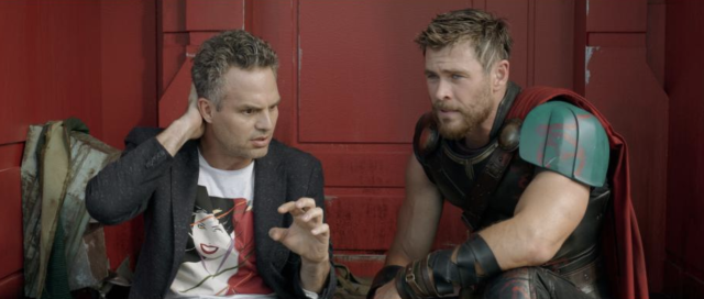 "Bruce Banner (Mark Ruffalo), in a Patrick Nagel-designed Duran Duran/""Rio"" T-shirt, with Thor (Chris Hemsworth) in <i>Thor: Ragnarok.</i> (Photo: Walt Disney Studios Motion Pictures/Marvel Studios)"
