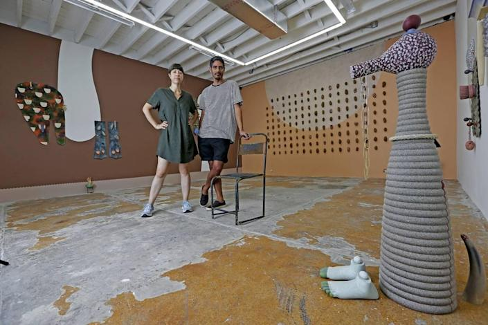 Artist-gallerists Leyden Rodriguez-Casanova and Frances Trombly at the new Dimensions Variable gallery space on NW 79th Street in Miami. The gallery reopens on May 11.